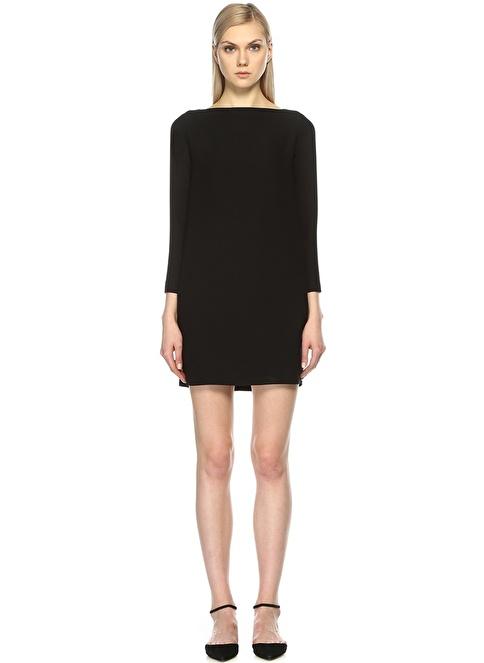 Gravitas Kayık Yaka Mini Elbise Siyah